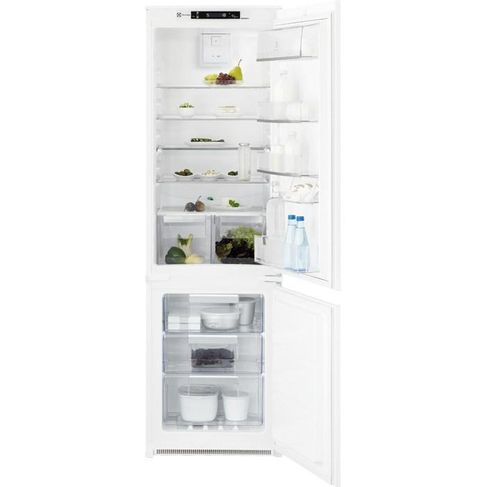 Electrolux ENN 2853 COW beépíthető, alulfagyasztós, 178 cm, A+, TwinTech NoFrost, érintővezérlés, ventilátor, nettó kapacitás (hűtőtér/fagyasztótér): 192 l/61 l, zajszint: 39 dB (ENN2853COW)