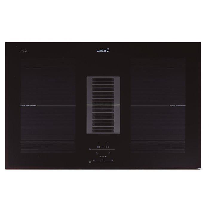 Cata AS 750 pultba beépíthető fekete színű indukciós főzőlap és páraelszívó egyben